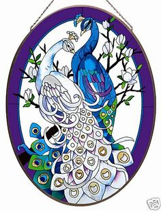 WHITE & BLUE PEACOCKS * OVAL 17x23 STAINED GLASS PANEL
