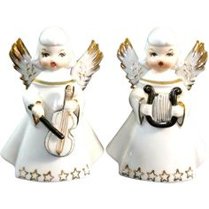 2  Japan 1950s Porcelain Angel Figurines Playing Music