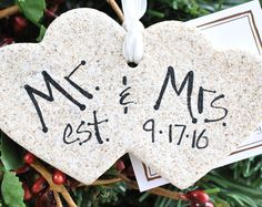 Personalized Our First Christmas Mr & Mrs Double Heart Salt Dough Ornament