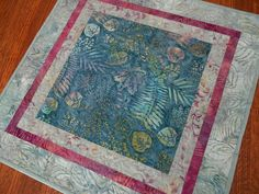 Quilted Batik Table Topper with Leaves and Ferns in by SusiQuilts