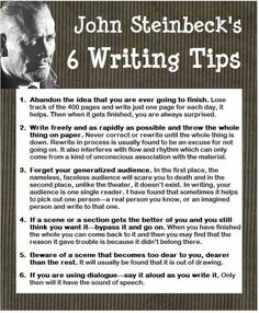 "essebellwrites: "" John Steinbeck's VERY USEFUL writing advice ─ ℰ. (via John Steinbeck 6 Writing Tips Writer Tips, Book Writing Tips, Writing Quotes, Fiction Writing, Writing Process, Writing Resources, Writing Help, Writing Skills, Writing Ideas"