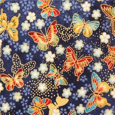 blue Akiko butterfly animal fabric by Robert Kaufman from the USA 2