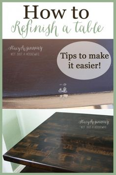 Tutorial and tips on how to refinish a wood table.  Click link below for tutorial.