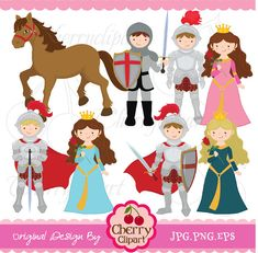 Little Knight and Princess digital clipart set for-Personal and Commercial Use Your Design, Web Design, Paper Puppets, Felt Patterns, Clipart, Invitation Design, Digital Image, Art Images, Knight