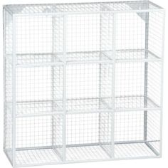 wire 9 cube white wall shelf in wall décor   CB2