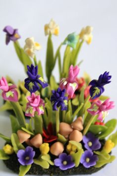 Polymer Clay Iris Flowers Miniature Garden for Dollhouse, delicate and beautiful, set of 2 pcs