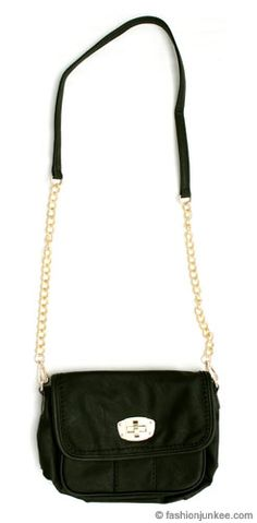 Small Turnlock Purse Clutch With Long Chain Strap Messenger Black