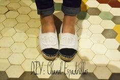 DIY chanel espandrilles Seen at: http://www.glamourella.es/2013/05/diy-chanel-espadrilles.html?m=1
