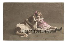 Dog child vintage postcard animal love door vintagepostoffice