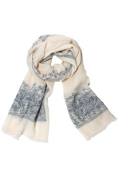 Lily Hand Embroidered Scarf by Mela Artisans. Handcrafted by artisans in India.