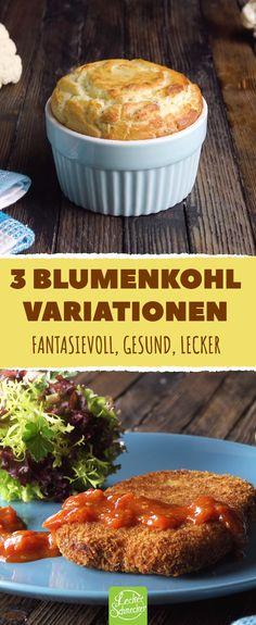 3 originelle Rezepte für Blumenkohl, die alles aus dem Gemüse herausholen. #rezept #rezepte #gemüse #blumenkohl #karfiol #vegetarisch #taler #schnitzel #patty #käse #frittiert #suppe #sahne #bacon #soufflee #rosmarin #brie #püree #pürieren