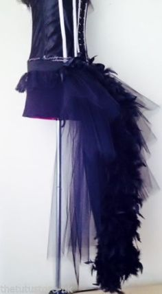 Details about Black Burlesque Feather Bustle Belt S M L XL Sexy Steampunk  The Tutu Store UK