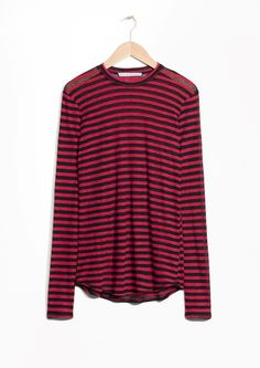 & Other Stories image 2 of Striped Top in Black/Red