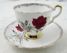 """Royal Stafford Tea Cup and Saucer, """"Roses to Remember"""" Pattern, Red Rose, Vintage Bone China"""