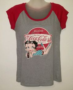 Women's Size L Large Coca-Cola Brand Betty Boop T-shirt Sleepwear Free S/H #CocaCola #GraphicTee