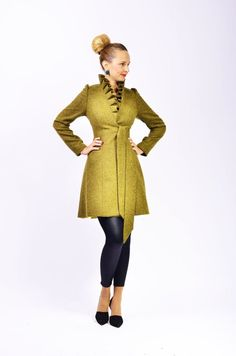 Items similar to Wrap High Collar Coat, Midi Winter Jacket With Belt, For Ladies Pretty Outfits, Stylish Outfits, Beautiful Outfits, Coatdress, Langer Mantel, Elegante Designs, High Collar, Jacket Style, Coats For Women