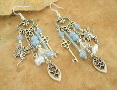 Boho Vintage Chandelier Earrings, Fairy Tale Assemblage Earrings, Victorian Style Earrings, Powder Blue Beaded Earrings, Bohemian Jewelry
