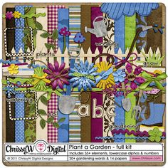 Plant a Garden Kit for Digital Scrapbooking - Papers, Elements, Alpha