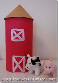Silo for Farm day. paint an oatmeal container red, make a brown paper cone for top.