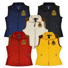 Ralph Lauren Puffer Vest Jacket Womens Quilted Large Crown Crest Logo New