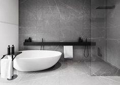 r-house (interior design), @ Pabianice by Tamizo Architects Bathroom Design Inspiration, Bad Inspiration, Modern Bathroom Design, Bathroom Interior, Minimal Bathroom, Modern Design, Design Ideas, Bathroom Designs, Industrial Bathroom