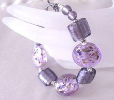 Purple Lampwork Bracelet Lavender Confetti by SendingLoveGallery