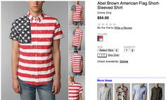 Urban Outfitters Abel Brown Flag Shot-Sleeved Shirt, $54