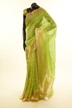 Banarsi- jute tissue net / tule fresh lime green saree with blouse