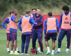 Louis van Gaal chats to the team