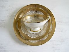 Vintage Gold Bavarian China Trio - Hollywood Glam.