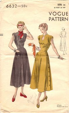 This marvelous dress from 1949 and Vogue features some eye-catching details, like a keyhole neckline, drop waist, and side button closing! Vintage Dress Patterns, Vintage Dresses, Vintage Outfits, 1950s Dresses, Vintage Clothing, 1940s Fashion, Vintage Fashion, Club Fashion, 1940s Outfits