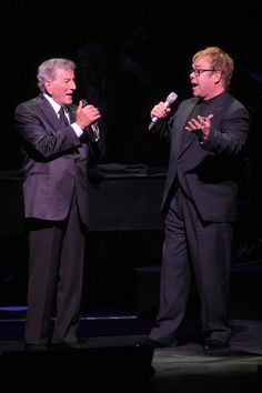 Tony Bennett (left) and Elton John perform onstage during Tony Bennett's 85th Birthday Gala Benefit for Exploring the Arts at The Metropolitan Opera House on September 18, 2011 in New York City.