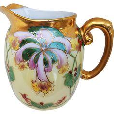Vintage T & V Limoges France 1900's Hand Painted 'Red & Pink Orchids' Floral Cream Pitcher by Julius Brauer Artist, 'M. Bonn'