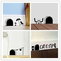 Funny cartoon mouse hole wall stickers for kids rooms home decals decorative removable wall murals Home Stickers, Wall Stickers, Mouse Hole, Decoration Stickers, Removable Wall Murals, Fun Projects, Home And Garden, Wall Decor, Retro