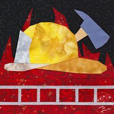 Firefighter Paper Piecing quilt pattern first responder Modern Quilt Patterns, Paper Piecing Patterns, Block Patterns, Quilting Projects, Quilting Designs, Sewing Projects, Quilting Ideas, Patch Quilt, Quilt Blocks