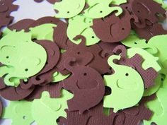 100 Lime Green Brown Elephant Die Cuts Punch Cutouts Confetti Embellishment Scrapbook. $2.25, via Etsy.
