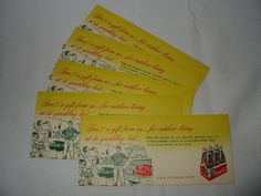 Vintage 1950's Coca-Cola Coke Free 6-pack King Bottles Coupon Lot of 5 Outdoor  #CocaCola