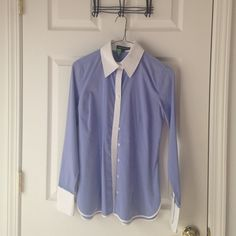 "Express button down Purple pin striped button down with white collar, placket and cuffs. Excellent condition - no signs of wear. Cotton broadcloth. Dry Cleaned. 17"" across bust. Express Tops Button Down Shirts"