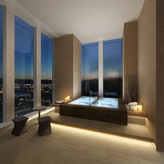 Bathe with a view. Love the underlying soft lighting. #bathroombeauties