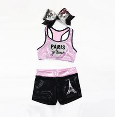 Paris inspired workout set includes sports bra shorts by lumare athletic ou Cute Athletic Outfits, Cute Gym Outfits, Cheer Outfits, Dance Outfits, Sport Outfits, Cheer Clothes, Affordable Workout Clothes, Sexy Workout Clothes, Gymnastics Outfits