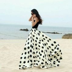 Polka dot maxi skirt with black strapless