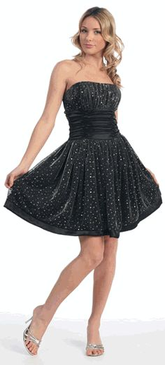 Strapless Black Short Cocktail Evening Party Dress with Ruched Satin Waist Band (XS to 2XL)