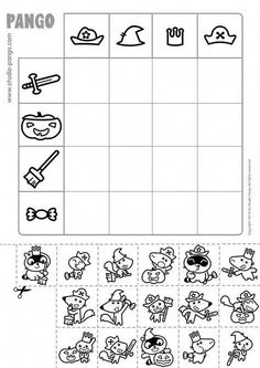 Free printables coloring, cutting and activities pages to download for children with Pango and his friends #mathforchildren