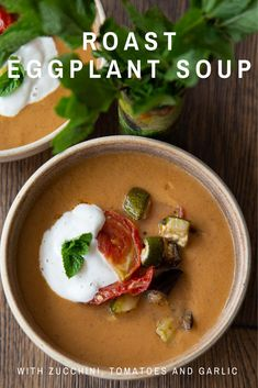 An easy recipe for roast eggplant soup with zucchini and tomatoes! This soup really makes the most of the late summer harvest. It's a glorious celebration of those long balmy days and is full of the taste of sunshine. Roast Recipes, Fall Recipes, My Recipes, Soup Recipes, Vegan Recipes, Roasted Mediterranean Vegetables, Roasted Vegetables, Zucchini Tomato, Roast Eggplant