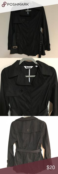 Lightweight Short Trench Coat Lightweight button peacoat like jacket! Perfect for work or a fancy event. Best for spring and summer months or all months depending on your location! Flaw - sharpie on tag due to crossing out my name on it! Just message me if you have any more questions! Jou Jou Jackets & Coats Trench Coats