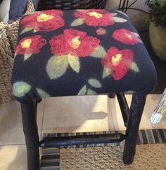 Wet felted fabric made by Leslie Cervenka, Bluebird Woolen Arts. Upholstered on stool by Lakeside Living Design, LLC