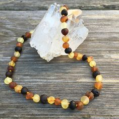 Certified Raw Multicolored Baltic Amber Bead Handknotted Teething Necklace by PeacefulLilyDesigns on Etsy
