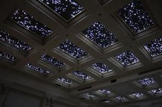 Star-style fiber optic lights in the ceiling. Looks awesome with some wall lights on a dimmer.