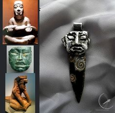 Olmec obsidian blade - pendant for men, mayan aztec etno style jewelry, black dagger, obsidian knife, glass knife, men jewelry, indian art
