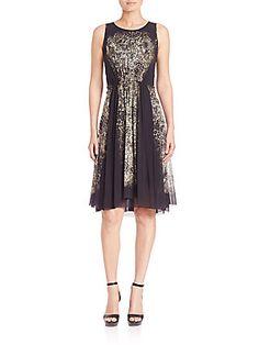 Fuzzi Nero Boticelli Printed Sleeveless Dress